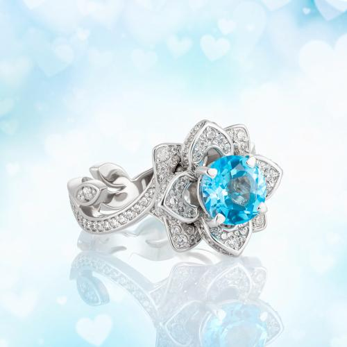 Attractive Gem Colors for Flower Engagement Rings